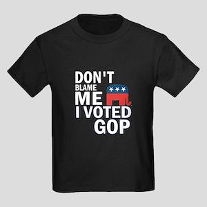 Don't Blame Me I Voted Republ Kids Dark T-Shirt