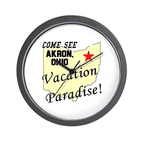 Come See Akron, Ohio, Vacatio Wall Clock