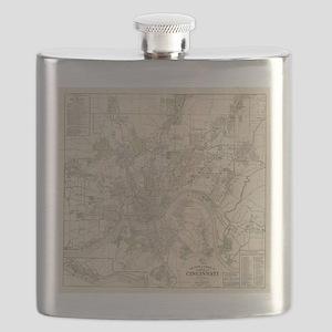 Vintage Map of Cincinnati Ohio (1915) Flask