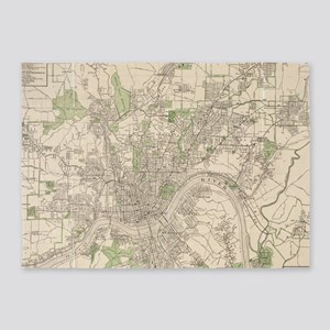 Vintage Map of Cincinnati Ohio (191 5'x7'Area Rug