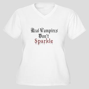 Real Vampires Don't Sparkle Women's Plus Size V-Ne