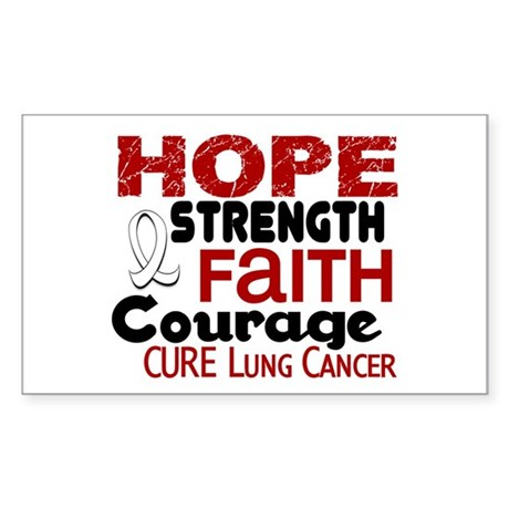HOPE Lung Cancer 3 Rectangle Sticker