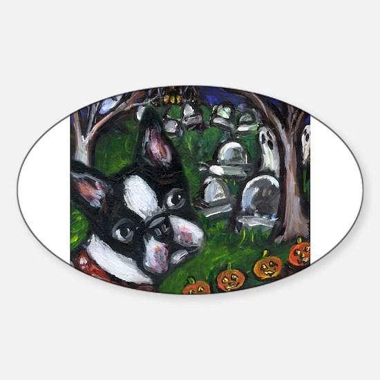 BOSTON TERRIER Halloween grav Oval Decal