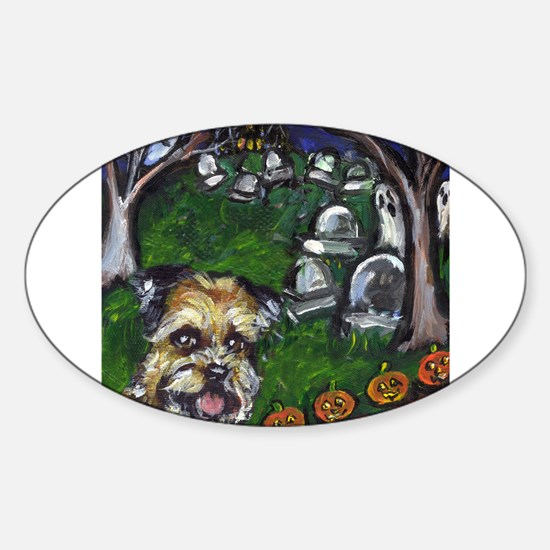 BORDER TERRIER Halloween grav Oval Decal