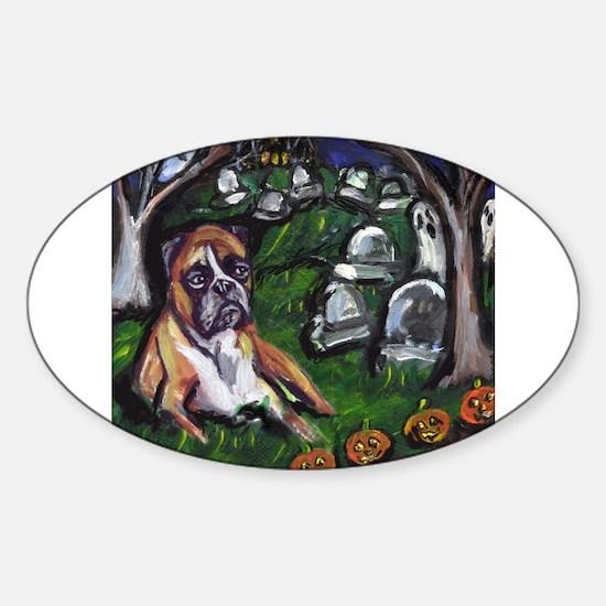 BOXER Halloween Graveyard Oval Decal