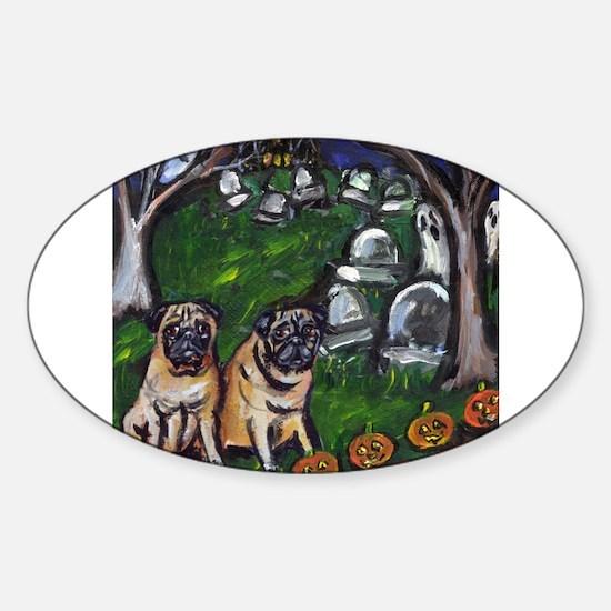 PUG spooky Halloween Graveyar Oval Decal