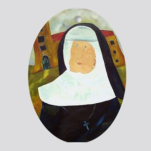 NUN WITH A PEARL EARRING Ornament (Oval)