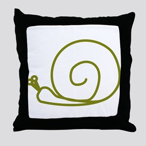 Green Snail Throw Pillow