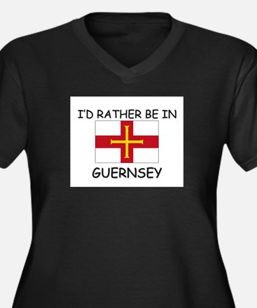 I'd rather be in Guernsey Women's Plus Size V-Neck