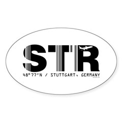Stuttgart Airport Code Germany STR Oval Decal