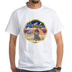 XmasStar/Silver Poodle #8 White T-Shirt
