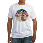 XmasStar/Silver Poodle #8 Fitted T-Shirt