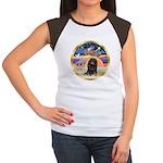 XmasStar/Dachshund LH Women's Cap Sleeve T-Shirt