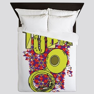 Sketchy Tuba Text and Pattern Queen Duvet