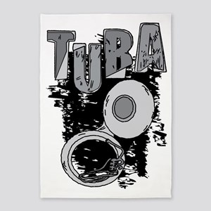 Sketchy Tuba Text and Pattern 5'x7'Area Rug