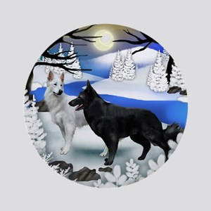 GERMAN SHEPHERD DOGS FROZEN RIVER Ornament (Round)
