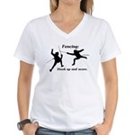 Hook Up and Score Women's V-Neck T-Shirt