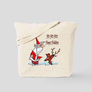 Santa in Chimney Tote Bag