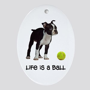Boston Terrier Life Oval Ornament