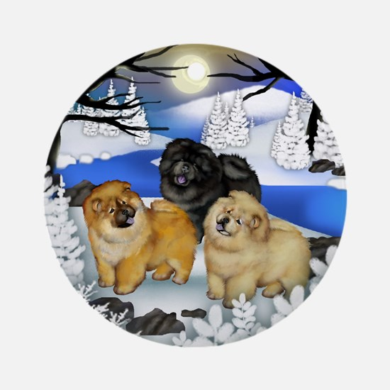 CHOW CHOW DOGS FROZEN RIVER Ornament (Round)