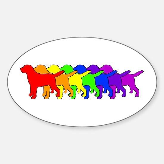 Rainbow Labradors Sticker (Oval)