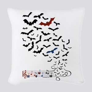 Bat Music Design Woven Throw Pillow