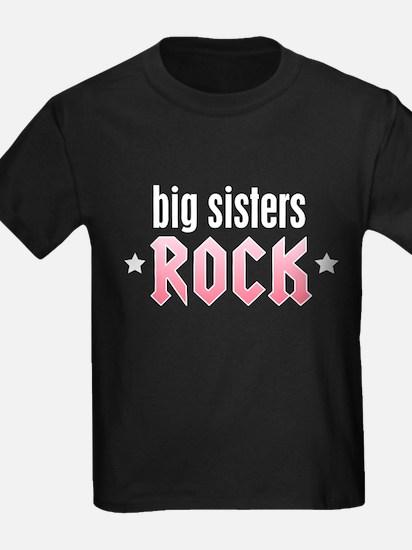 Big Sisters Rock Kids Black T-Shirt