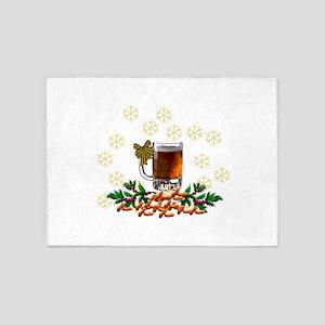 Beer and Peanut Christmas 5'x7'Area Rug