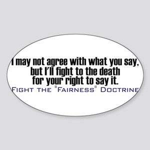 Fight the Fairness Doctrine Oval Sticker