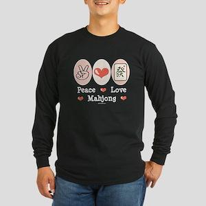 Peace Love Mahjong Long Sleeve Dark T-Shirt