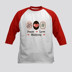 Peace Love Mahjong Kids Baseball Jersey