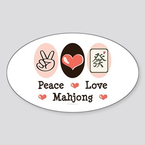 Peace Love Mahjong Oval Sticker