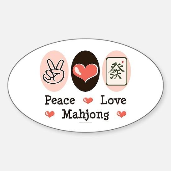 Peace Love Mahjong Oval Decal