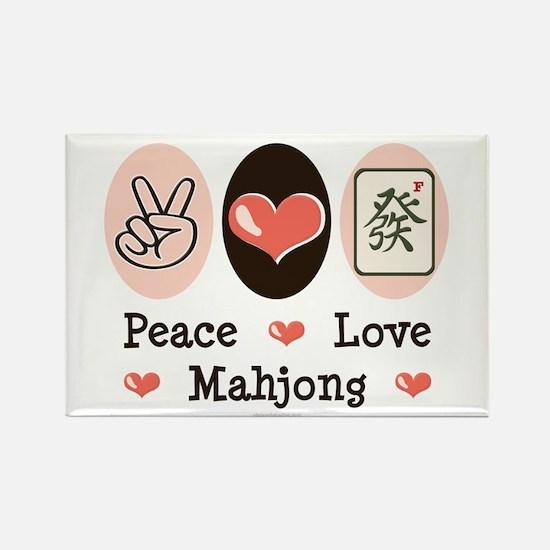 Peace Love Mahjong Rectangle Magnet