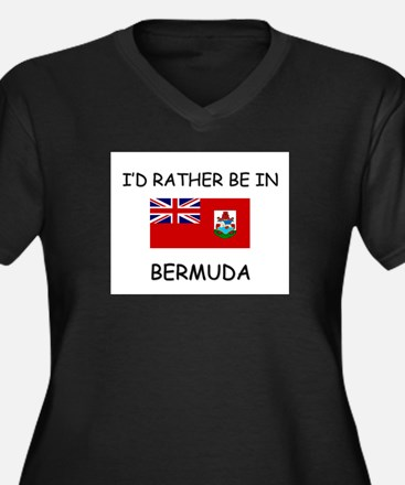 I'd rather be in Bermuda Women's Plus Size V-Neck