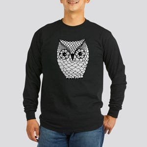 Black and White Owl 2 Long Sleeve Dark T-Shirt