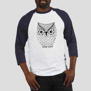 Black and White Owl 2 Baseball Jersey