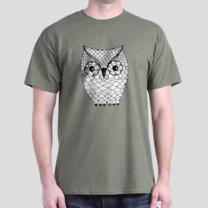 Black and White Owl 2 Dark T-Shirt