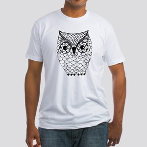 Black and White Owl 2 Fitted T-Shirt