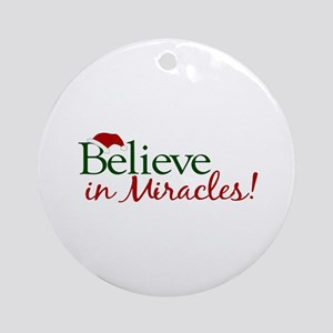 Believe in Miracles (Santa) Ornament (Round)