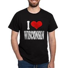 I Love Wisconsin Dark T-Shirt