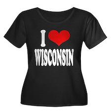 I Love Wisconsin Women's Plus Size Scoop Neck Dark