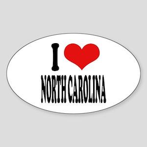 I Love North Carolina Oval Sticker