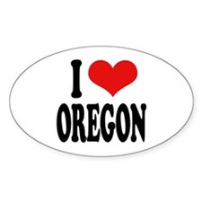 I Love Oregon Oval Sticker
