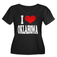I Love Oklahoma Women's Plus Size Scoop Neck Dark
