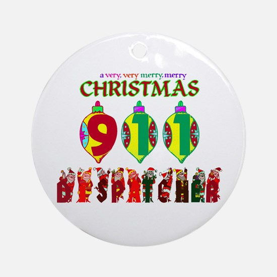 911 Dispatcher Christmas Ornament (Round)