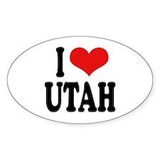 I Love Utah Oval Sticker
