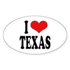 I Love Texas Oval Sticker
