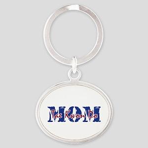 Tae Kwon Do Mom Oval Keychain Keychains