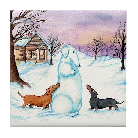 Snow Dachshunds Tile Coaster